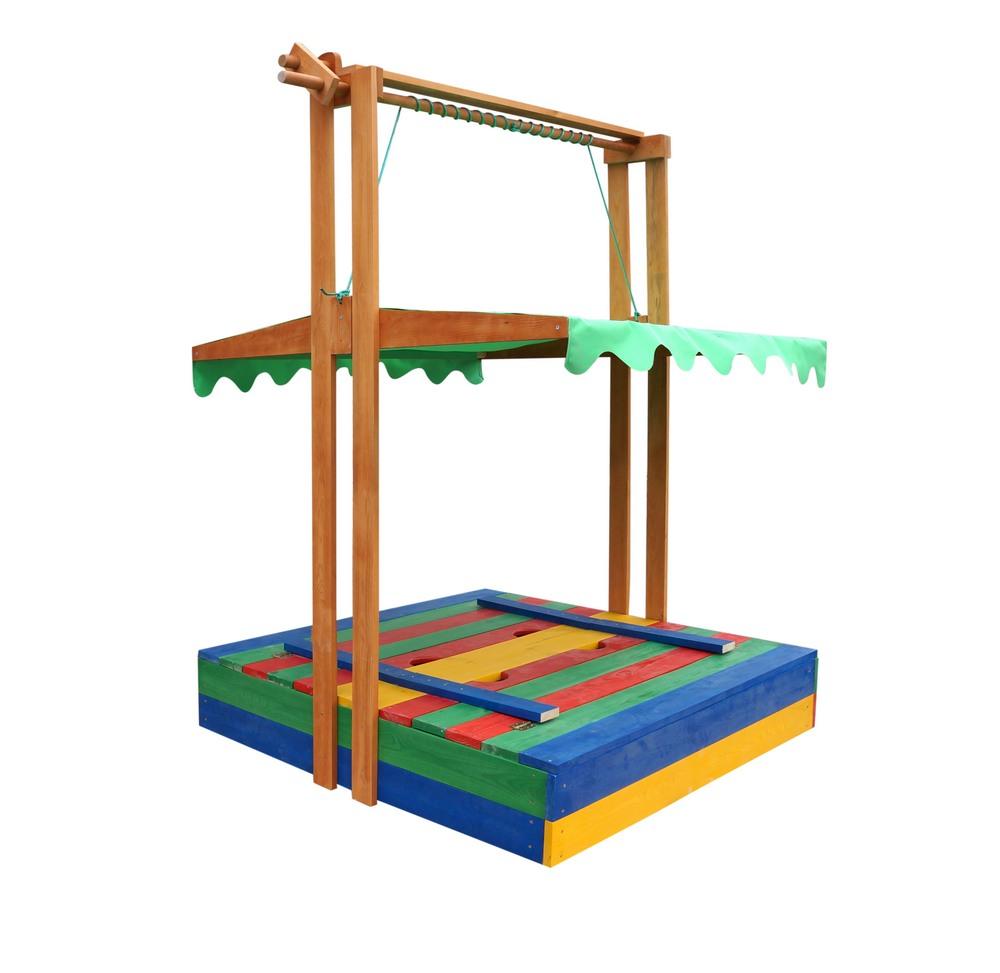 Детская песочница с крышкой скамейкой